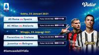 Live streaming pertandingan Liga Italia pekan ke-19 dapat disaksikan melalui platform Vidio. (Dok. Vidio)