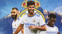 Real Madrid - Karim Benzema, Marco Asensio, Vinicius Junior (Bola.com/Adreanus Titus)