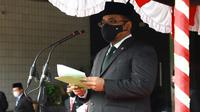 Menag Yaqut Cholil Qoumas saat memimpin upacara Peringatan Hari Amal Bakti (HAB) ke-75 Kemenag di Kantor Kemenag, Lapangan Banteng, Jakarta Pusat, Selasa (5/1/2021).  (Dokumentasi Kemenag)