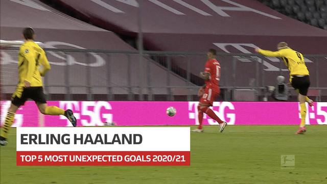 Berita video gol-gol tak terduga striker Borussia Dortmund, Erling Haaland, di Bundesliga sepanjang musim 2020/2021.