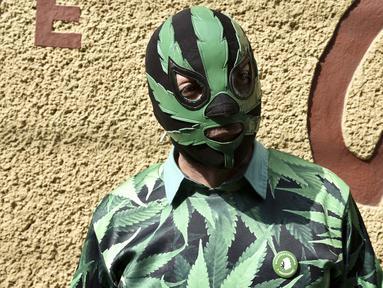 Seorang aktivis memakai topeng dan kostum bermotif ganja saat mengelar aksi di depan Komisi Federal untuk Perlindungan terhadap Risiko Sanitary (COFEPRIS) untuk budidaya dan penggunaan ganja sebagai obat di Mexico City (20/11). (AFP PHOTO/Yuri Cortez)