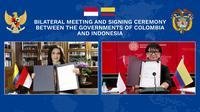 Penandatanganan kerja sama bilateral antara Indonesia dan Kolombia oleh kedua Menteri Luar Negeri secara virtual pada Rabu, 5 Agustus 2020. (Dok: Kemlu RI)