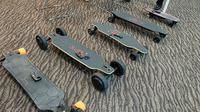 Skateboard listrik SYL-16 SoulRun berbahan serat karbon. (Amal / Liputan6.com)