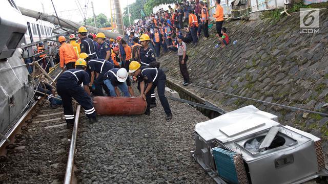 Penampakan Terkini Kondisi KRL yang Anjlok di Bogor