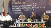 Ditjen AHU Kemenag Hilman Latief saat gelar sosialisasi persiapan penyelenggaraan haji 2022 dan umrah 2021. (Foto: Radityo Priyasmoro).