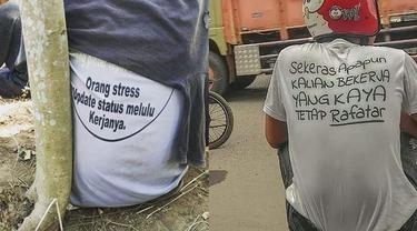6 Tulisan di Belakang Kaus Berusaha Sindir Orang Ini Kocak