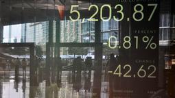 IHSG ditutup terkoreksi tajam 0,94% ke 5.197,12 pada perdagangan Selasa (9/9/14), setelah sempat ditutup di rekor tertinggi baru 5.246,48 pada Senin. (Liputan6.com/Miftahul Hayat)