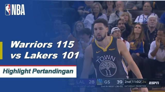 Klay Thompson mencetak 28 poin dan Kevin Durant menambah 21 dengan 11 assist saat Warriors menjaga Lakers yang tidak diperkuat LeBron di kandang.