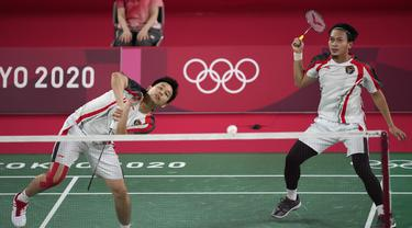 Foto: Petik Kemenangan ketiga, Mohammad Ahsan/Hendra Setiawan Lolos ke Perempatfinal sebagai Juara Grup D Bulu Tangkis Olimpiade Tokyo 2020