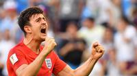 Manchester United akhirnya resmi mendatangkan bek Leicester, Harry Maguire, dengan harga 80 juta poundsterling. (AFP/Yuri Cortez)