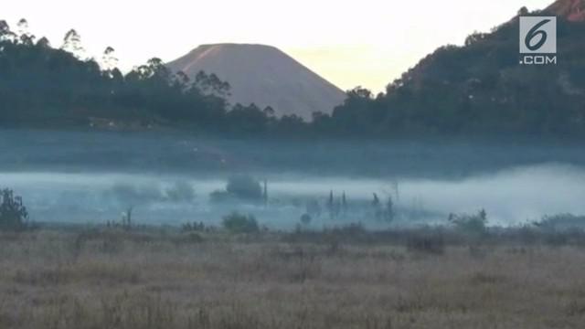 Akibat cuaca yang ekstrim, embun es muncul lagi di Dieng, Bajarnegara, Jawa Tengah.