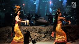 "Penari memeriahkan atraksi barongan dalam air di akuarium utama Sea World Ancol, Jakarta, Senin (4/3). Pertunjukan bertajuk ""Barongan, an Epic Underwater Show"" itu untuk menghibur pengunjung pada libur Nyepi dan akhir pekan. (merdeka.com/Iqbal Nugroho)"