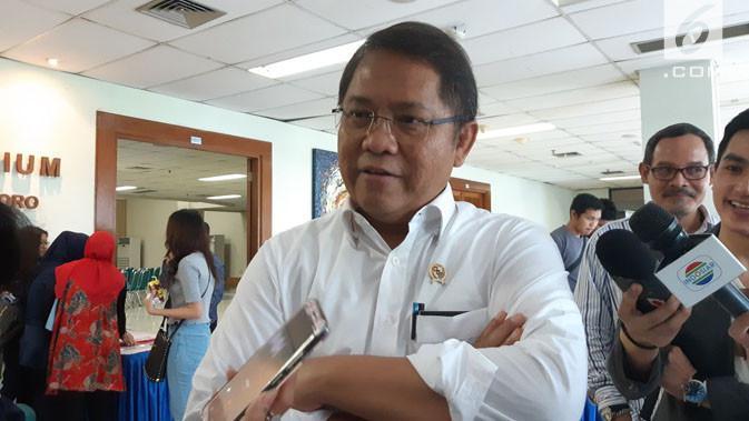 Menkominfo Rudiantara saat ditemui di Kampus Universitas Al-Azhar Indonesia, Jakarta, Rabu (21/3/2018). Liputan6.com/ Agustin Setyo Wardani