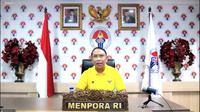 "Menteri Pemuda dan Olahraga Republik Indonesia (Menpora RI), Zainudin Amali, menghadiri diskusi yang bertajuk ""Piala Dunia U-20 2021, Panggung Anak Muda Indonesia"" bersama platform Baca Berita (BaBe) melalui aplikasi Zoom. (Foto: Liputan6.com)"