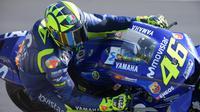 Valentino Rossi saat menjalani hari pertama sesi latihan bebas MotoGP Prancis di Sirkuit Le Mans, Jumat (18/5/2018). (MotoGP.com)