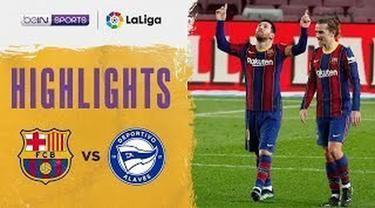 Berita video highlights pekan ke-23 Liga Spanyol 2020/2021 antara Barcelona melawan Deportivo Alaves yang berakhir dengan skor 5-1, di mana Lionel Messi menorehkan 2 gol, Minggu (14/2/2021) dinihari WIB.
