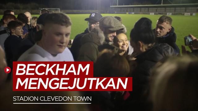 Berita video Mantan Pemain Manchester United, David Beckham terlihat menonton pertandingan sepak bola di desa kecil.