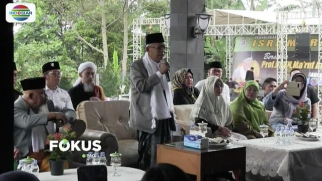 Hadiri perayaan Isra Mikraj di Sukabumi, Ma'ruf Amin berikan tausyiah kepada santri, ulama, dan warga.