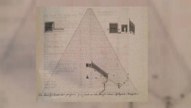 Sketsa Piramida Agung Giza oleh Richard Pococke. (Sumber Wikimedia Commons)
