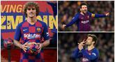 Kedatangan Antoine Griezmann dari Atletico Madrid membuat Lionel Messi tergeser dari pemain dengan release clause tertinggi di Barcelona. Berikut tujuh pemain Barcelona dengan nilai release clause tertinggi. (Kolase Foto dari AFP)