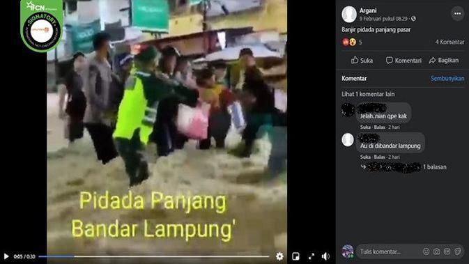 Gambar Tangkapan Layar Video yang Diklaim Banjir di Pidada, Bandar Lampung (sumber: Facebook)