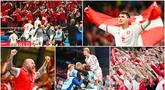 Pemain dan suporter Timnas Denmark tampak bersuka cita usai dipastikan lolos ke babak 16 besar Euro 2020. Mereka tampak meledak-ledak merayakan keberhasilan tersebut. Denmark finis sebagai runner-up Grup B mendampingi Belgia yang keluar sebagai juara grup.