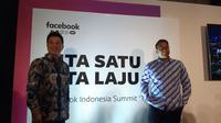 VP Facebook South East Asia (SEA), Benjamin Joe (kiri) dan Kepala Kebijakan Publik Facebook, Ruben Hatari di Jakarta, Rabu (16/10/2019). (Liputan6.com/ Agustin Setyo Wardani)
