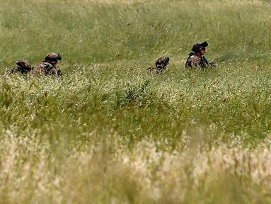 Sejumlah tentara Italia berjalan di rerumputan saat mengambil bagian dalam latihan militer di sebuah kamp pelatihan di Tarquinia, dekat Roma, (21/5).  (AFP Photo/Tiziana Fabi)