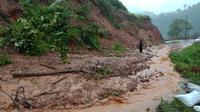 Longsor yang melanda Desa Tolitehuyu, Kecamatan Monano, Gorontalo Utara, Senin (2/3/2020) menyebabkan akses transportasi di jalur lintas Sulawesi bagian barat kawasan tersebut terputus. (Liputan6.com/ Arfandi Ibrahim)