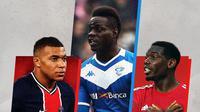 Kylian Mbappe, Mario Balotelli dan Paul Pogba. (Bola.com/Dody Iryawan)