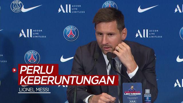 Berita video komentar Lionel Messi soal perlu adanya juga keberuntungan untuk menjadi juara Liga Champions.