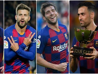 Akademi Barcelona banyak menghasilkan pemain bintang bertalenta di dunia sepak bola. Lionel Messi menjadi salah satu hasil akademi Barcelona dan masih setia bersama Blaugrana. Berikut 5 pemain jebolan akademi Barcelona yang Masih Setia di Camp Nou. (kolase foto AFP)