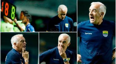 Berikut ini wajah tegang Pelatih Persib, Mario Gomez, saat pertandingan melawan PSM pada laga Piala Presiden 2018. (Bola.com/M Iqbal Ichsan)