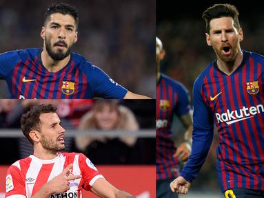 Lionel Messi kian perkasa di singgasana top scorer La Liga dengan raihan 33 gol, terpaut 13 gol dari Luis Suarez yang berada di bawahnya. (Kolase Foto AFP)
