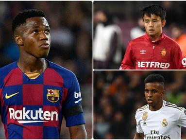 Liga Spanyol dikenal memiliki segudang wonderkid yang layak dinanti aksinya. Salah satunya Ansu Fati, pemain Barcelona ini tampil apik bersama timnas Spanyol di UEFA Nations League. Berikut Ansu Fati dan 5 wonderkid yang akan bersinar di Liga Spanyol musim 2020/2021. (kolase foto AFP)
