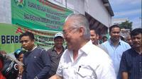 Menteri perdagangan Enggartiasto Lukita berkunjung ke pasar tradisional di Medan, Sumatera Utara (Foto:Liputan6.com/Reza Efendi)