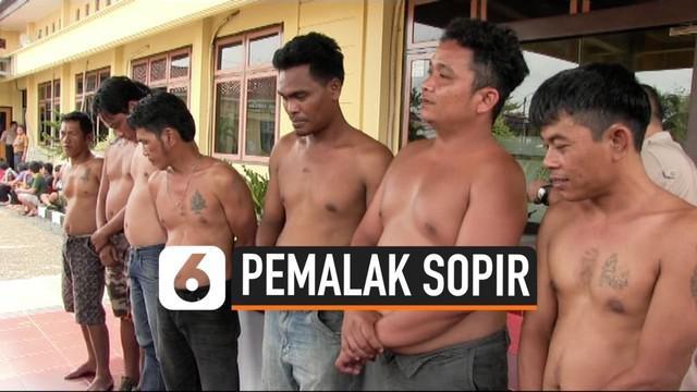 Tujuh preman pemalak sopir truk ditangkap Polres Prabumulih, Selasa (1/10/2019) pagi.