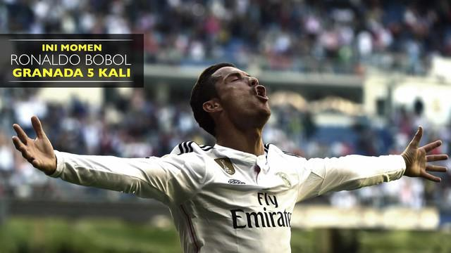 Cuplikan Cristiano Ronaldo cetak 5 gol ke gawang Granada saat Real Madrid menang 1-9 atas sang tamu pada 5 April 2015
