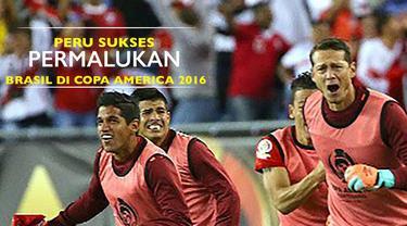 Peru berhasil mengalahkan Brasil dengan skor 1-0 di laga terakhir grup B Copa America 2016, di Massachusets, Amerika Serikat (12/6/2016).
