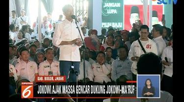 Kampanye di Bogor, Jawa Barat, Jokowi targetkan meraih minimal 50 persen suara.