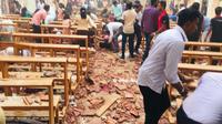 Gereja rusak parah pasca ledakan bom di Sri Lanka (Sumber: Twitter.com/Geeta_Mohan)
