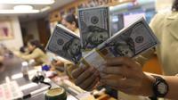 Pekerja menunjukan Dolar AS di jasa penukaran uang asing di Jakarta, Rabu (19/6/2019). Nilai tukar rupiah terhadap Dolar AS sore ini Rabu (19/6) ditutup menguat sebesar Rp 14.269 per dolar AS atau menguat 56,0 poin (0,39 persen) dari penutupan sebelumnya. (Liputan6.com/Angga Yuniar)
