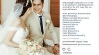 Marcell Chandrawinata telah resmi menikahi Deasy Priscilla. Keduanya tampak serasi dengan busana yang dikenakan (instagram/thebridedept)