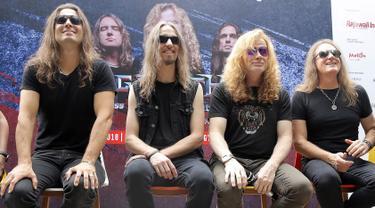 Personil Megadeth saat jumpa pers di Yogyakarta, Jumat (26/10). Kelompok cadas asal Kalifornia, AS ini akan menggebrak panggung Jogjarockarta 2018 yang akan digelar Sabtu (27/10/2018) di Stadion Kridosono, Yogyakarta. (Liputan6.com/Bambang E.Ros)