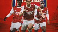Arsenal - Tariq Lamptey, Achraf Hakimi, Emerson Royal (Bola.com/Adreanus TItus)