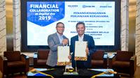 Direktur Ritel dan Menengah Bank BRI Supari (Kanan) bersama Co-Founder dan CEO Investree Adrian Gunadi (Kiri).
