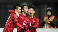 Timnas Vietnam U-23 melaju ke semifinal Piala AFC U-23 2018 setelah mengalahkan Irak lewat adu penalti (20/1/2018). (Bola.com/Dok. AFC)