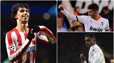 Joao Felix menjadi pemain La Liga berusia di bawah 21 tahun dengan harga transfer yang tinggi, lantas siapa saja pemain La Liga berusia di bawah 21 Bernilai tinggi. Berikut 5 pemain La Liga di bawah 21 tahun yang memiliki market value tinggi. (kolase foto AFP)