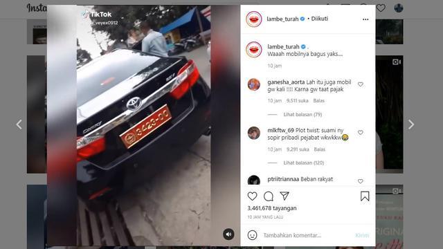 Tangkapan layar viral wanita pamer mobil berpelat dinas TNI