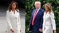 Melania Trump mengenakan jas putih dari Gucci seharga Rp40 juta saat hadir di Memorial Day (Dok.Instagram/@melaniatrump.style/https://www.instagram.com/p/CAniu8fA8vS/Komarudin)